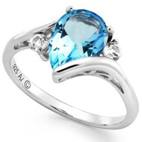 Blue and White Topaz Ring in Sterling Silver (2-1/5 ct. t.w.) | macys.com