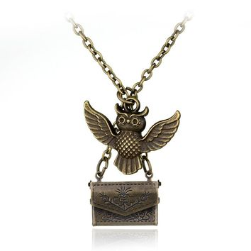 Fashion Owl Post Envelope Necklace Pendants With Hogwarts Acceptance Letter Vintage Jewelry Necklce And Lovely Locket Hero Gift