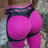 High Waist  Fitness Legging Women Heartbeat Print Fashion Push Up Sexy Ankle-Length Pants Elasticity Leggings