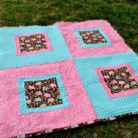 Baby girl quilt, toddler quilt, pink and blue quilt