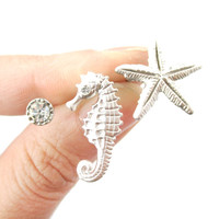 Seahorse Starfish and Rhinestone Shaped Allergy Free Stud Earrings in Silver   Animal Jewelry