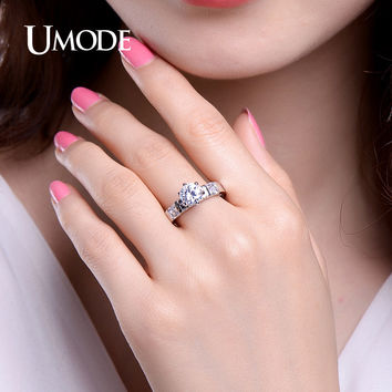 UMODE Luxury 1.25ct Cubic Zirconia Engagement Rings White Gold Color Chic Ring Wedding Jewelry for Women Anel Feminino UR0351