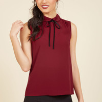 Feedback At It Sleeveless Top in Merlot | Mod Retro Vintage Short Sleeve Shirts | ModCloth.com