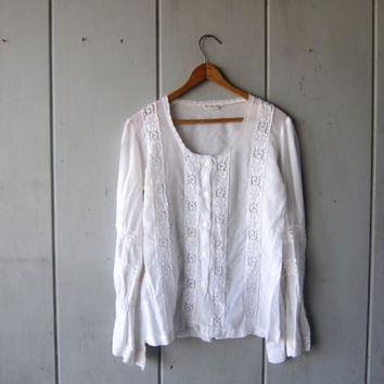 Sheer White Blouse Long Sleeve Lace 70s Shirt Billowy Sleeves See Through Edwardian Top Button Up Boho Bohemian Top Vintage Small Medium