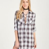 Plaid Lace-Up Shirt Dress | Wet Seal