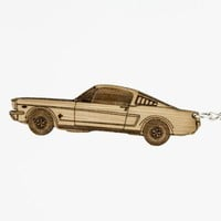 Ford Mustang Bamboo Keychain