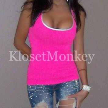 SEXY SPORT NEON HOT PINK SILVER TIGHT STRETCH RACER BACK TANK TOP ONE SIZE