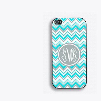 Aqua and Gray Chevrons Monogram Phone Case, for iPhone 5, iPhone 5s, iPhone 5c, iPhone 4, iPhone 4s, Galaxy S3, S4, S5. Tiffany Blue fcm114