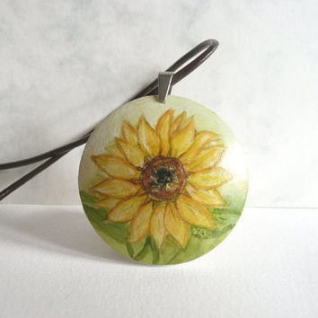 Graceful Sunflower Necklace, Hand Painted Jewelry, Sunflower Pendant Necklace,  Leather Cord, Flower, Small Painting on Wood