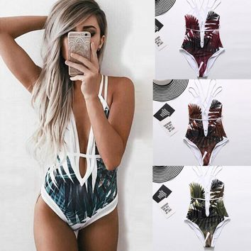 """Island beauty"" strappy one piece monokini swimsuit"