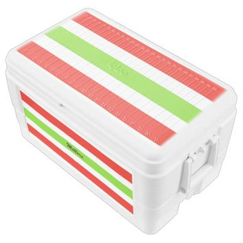 Stripes White Red Green Chest Cooler