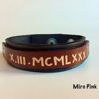 Customised leather cuff bracelet