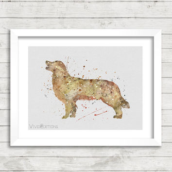 Dog Poster, Golden Retriever Watercolor Art Print, Kids Decor, Minimalist Home or Office Decor, Gift, Not Framed, Buy 2 Get 1 Free! [No. 43]