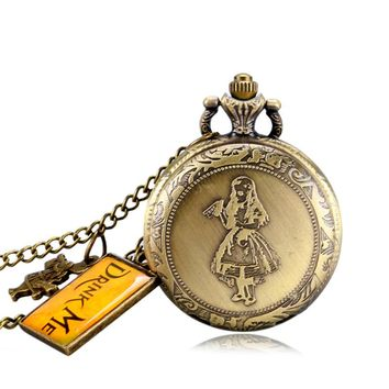 Bronze Women Alice in Wonderland Men Vintage Drink Me Tag Gift Cute Necklace Fashion Rabbit Pocket Watch