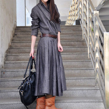 Linen Maxi Trench Coat Dress in Grey Custom Made by camelliatune