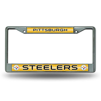 Pittsburgh Steelers NFL Bling Glitter Chrome License Plate Frame