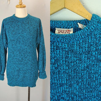 Vintage 70s Sweater, Heather Sweater, Blue Black Sweater, Slim Fit Sweater, Classic Pullover Sweater, Mens Small Sweater