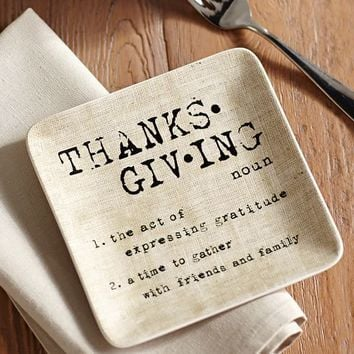 THANKSGIVING SENTIMENT APPETIZER PLATE, SET OF 4