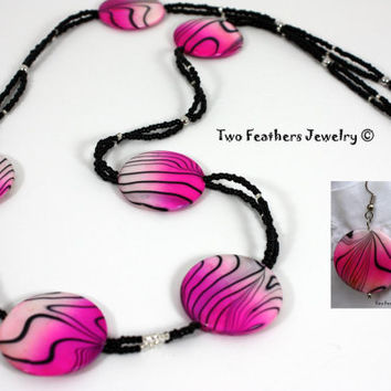 Hot Pink And Black - Beaded Necklace - Pink Zebra Stripe - Statement Jewelry - Hot Pink Earrings - Bold Jewelry - Gift For Her