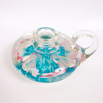 Vintage Blown Glass Chamber Candlestick Holder Paperweight Aqua Pink White Hand Blown Art Glass