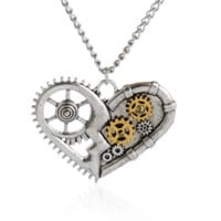 Steam punk style Mechanical heart pendant charm necklace , the perfect gift for the boy !
