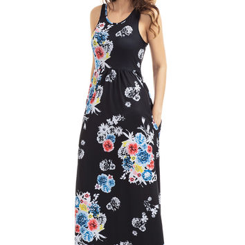 Black Floral Print Sleeveless Long Boho Dress LAVELIQ