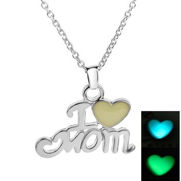 YYW Luminous Daughter & Best Mom Love Heart I love Mom Chic Punk Glow In Dark Pendant Necklace Mothers Day Gifts For Mom Jewelry