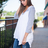 Pop Fly Top, Gray-White