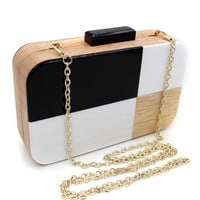 Multicolor Geometric Printed Chain Clutch Bag