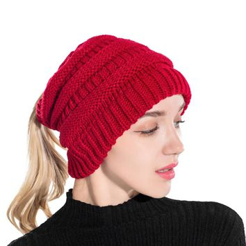 Women's Crochet Pony Tail Beanie Hat for the Winter