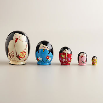 Nested Kokeshi Dolls, Set of 5 - World Market