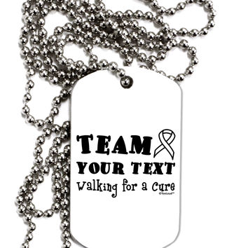 Personalized Team -Name- Walking for a Cure Adult Dog Tag Chain Necklace