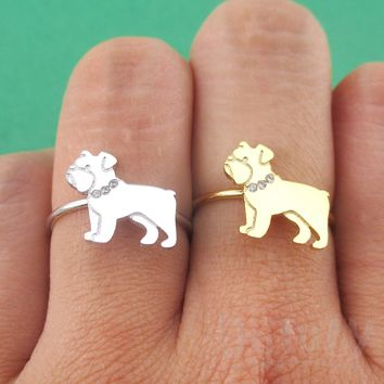 English Bulldog with Rhinestone Collar Shaped Adjustable Ring in Silver or Gold