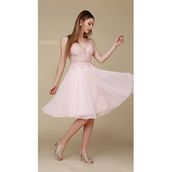Knee Length Blush Homecoming Dress Flowy Chiffon