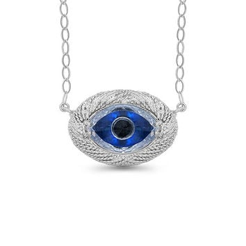 "Sterling Silver evil eye zircon necklace 18"" adjustable chain."