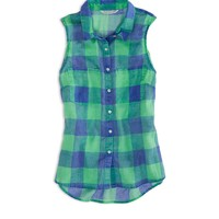 AEO FACTORY SLEEVELESS PLAID SHIRT