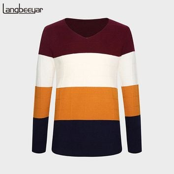 Winter Clothing Sweater Men V-Neck Slim Fit Winter Pullover Men Knitted Striped Mens Sweater