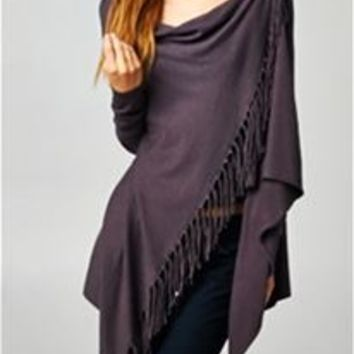 Love Stitch Fringe Sweater with Button IMP5797
