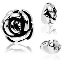 925 Sterling Silver Rose Flower Internally Threaded Dermal Top | Body Candy Body Jewelry