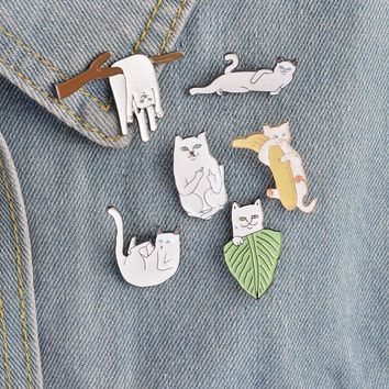 6pcs/set Creative White Cat on Branches Banana Leaf Lying Brooch Button Pins Denim Jacket Pin Badge Cartoon Animal Jewelry Gift