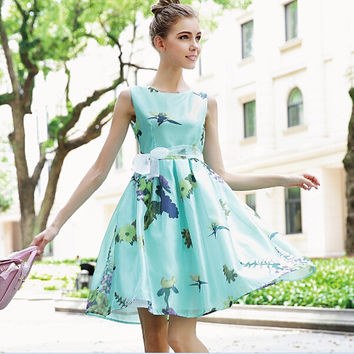 Light Green Floral Leaves Print Chiffon Mesh Skater Dress