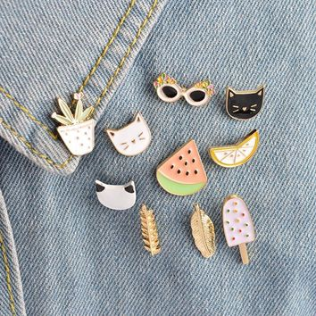 Trendy 10pcs/set Cat Watermelon Orange Ice Cream Sunglasses Plant Brooch Button Pin Denim Jacket Pin Badge Cartoon Fashion Jewelry Gift AT_94_13