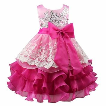 Sequin Formal Evening Gown Flower Wedding Princess Party Dress Girls Embroidery Layered First Communion Dresses for Girls