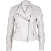 River Island Womens Light beige leather biker jacket
