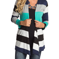 Striped Colorblock Maternity Cardigan