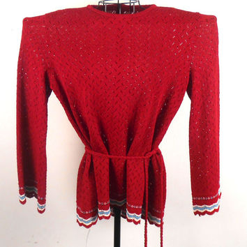 Women's Sweater  Burgundy See- Through  With Belt 1960s