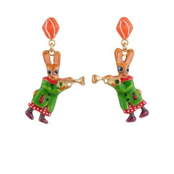 N2 by Les Néréides BRASS BAND RABBIT AND TRUMPET EARRINGS
