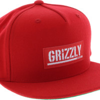 GRIZZLY STAMP LABEL HAT ADJ-RED