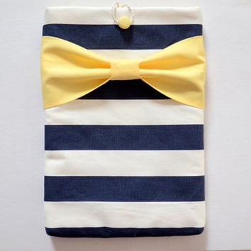 "Macbook Pro 13 Sleeve MAC Macbook 13"" inch Laptop Computer Case Cover Navy & White Stripe with Yellow Bow"