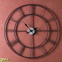 Oversized 30-inch Black Wall Clock with Roman Numerals